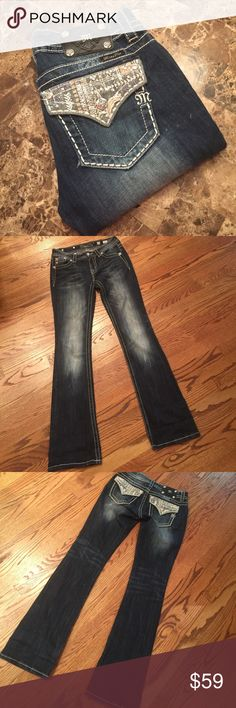 """Miss me jeans Used miss me jeans. Super cute.  Has couple lighter spots on as shown. May be just made that way.  Inseam 34"""" Miss Me Jeans Boot Cut"""