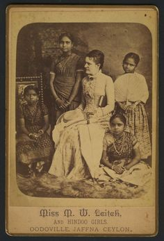 """Leitch and hindoo girls""""; Miss Mary Leitch was co-author of """"Seven Years in Ceylon"""" by Mary and Margaret Leitch. Published by the American Tract Society, Colonial India, British Colonial Style, Vintage Photographs, Vintage Photos, Indian Pictures, Vintage India, Historical Pictures, Victorian Era, Sri Lanka"""