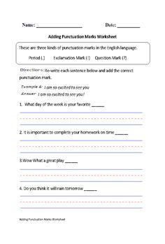 Adding Punctuation Marks Worksheet Part 1