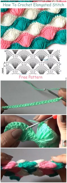 How To Crochet Elongated Stitch + Free Pattern & Video Tutorial For Beginners - . How To Crochet Elongated Stitch + Free Pattern & Video Tutorial For Beginners – Crochetize Crochet Video, Crochet Diy, Crochet Amigurumi, Crochet Crafts, Crochet Projects, Tutorial Crochet, Diy Crafts, Crochet Stitches Patterns, Crochet Designs