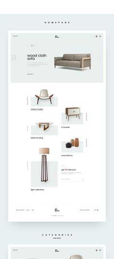 Ideas For Furniture Website Design Layout Behance Layout Design, Website Design Layout, Web Ui Design, Website Design Inspiration, Web Layout, Layout Site, Minimal Website Design, Brochure Design, Design Websites
