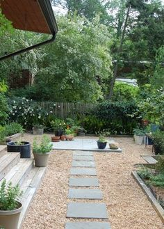 mid century modern landscaping - love the stone path and natural ...