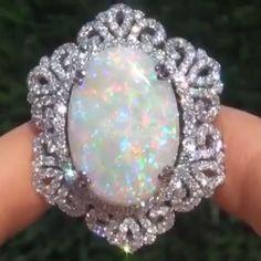 I Like Big #Rings and I Cannot Lie! BEAUTIFUL! ❤️ #Opal and #Diamond Ring via @bankykoraty #highjewellery #luxuryjewelry #bola3jewelry