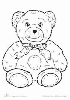 Preschool Coloring Worksheets Teddy Bear Page