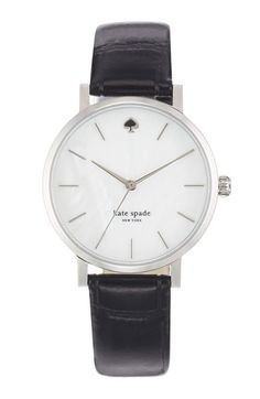 kate spade new york 'metro' embossed leather strap watch, 34mm at Nordstrom.com. Slim stick indexes round an opalescent mother-of-pearl dial to display three-hand time on a classic round watch. The croc-embossed leather strap makes an elegant finish.