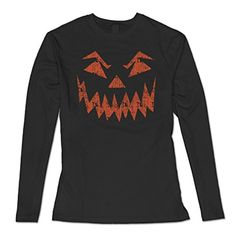 Vintage Scary Pumpkin Face Classic Women's Tshirts Long Sleeve Black S - Brought to you by Avarsha.com