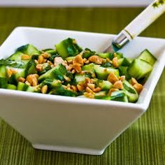 Kalyn's Kitchen®: Recipe for Wake-Up-Your-Mouth Thai Cucumber Salad - Dinner side for week of 21 January 2013 - pair with Asian Chicken Breasts