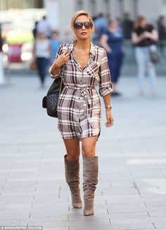 Myleene Klass struts around in knee high ankle boots and thigh-skimming plaid dress as she leaves radio station Plaid Dress, Shirt Dress, Figure Flattering Dresses, High Ankle Boots, Plaid Flannel, Fashion Models, Fall Outfits, Thighs, Street Style