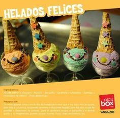 ¡Helados felices! Preparalos con helado, barquillo, mostacillas, chocolate líquido y listo!!