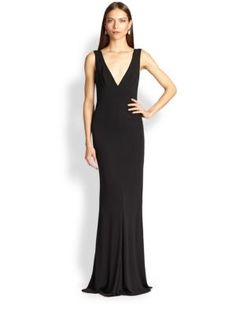 ABS - Satin V-Neck Gown - Saks.com