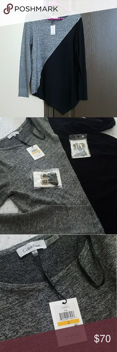 NWT Calvin Klein Asym Long Sleeve Top / Sweater New wirh tags Perfect condition ***Earrings not included*** see separate listing ☺☺☺ Can be weared as a top or as a light sweater Calvin Klein Sweaters