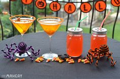 4 Halloween Candy Infused Liqueurs | Camp Makery Holday drinks, Cocktails, Halloween cocktails, Halloween party, Hershey bar, Bourbon, Tequila, Junior Mint, Candy Corn, Vodka, Hot tamales