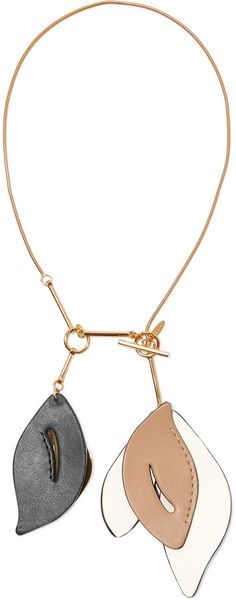 Marni Gold-Plated Leather Necklace