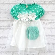 Cute shirt perfect for spring and summer.  Department Name: BabyGender: Baby GirlsBrand Name: Baby Girls dressDresses Length: Above Knee, MiniSilhouette: Ball GownCollar: OtherSleeve Length: ShortDress Style: Princess dressDecoration: AppliquesPattern Type: DotSleeve Style: RegularStyle: CasualMaterial: CottonActual Images: YesMaterial Composition: cottonModel Number: Princess dress | Shop this product here: spreesy.com/destinationbaby/292 | Shop all of our products at…