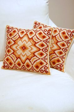 Pair of 4-way Bargello Needlepoint Pillows on Etsy
