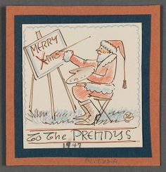 Christmas Card Drawing to Charles and Eugénie Prendergast by J. Andre Smith, 1947 at Williams College Museum of Art.