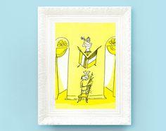 Vintage Madeline Print. Original French Book Plate Illustration 6x7 inches.French Flag. France Paris Ludwig Bemelmans