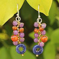 Sodalite and carnelian cluster earrings, 'Radiant Color'