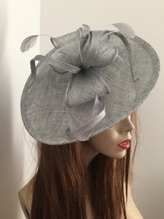 Fascinator Hat silver Grey Saucer headpiece on hairband   Etsy Silver Fascinator, Fascinator Hats, Headpiece, Wire Headband, Silver Headband, Hat For The Races, Grey Hat, Mannequin Heads, Wearing A Hat