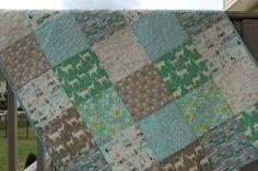 Baby boy quilt crib quilt indian summer birch by QuiltsbyJosephine, $105.00