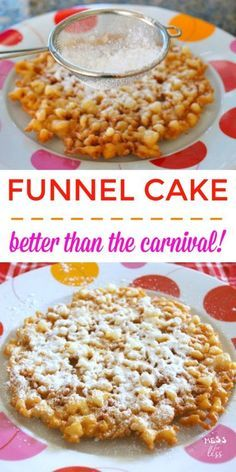 Do you love the funnel cake that you get during the carnival? Do it at home with this simple funnel cake recipe! Do you love the funnel cake that you get during the carnival? Do it at home with this simple funnel cake recipe! Funnel Cake Recipe Easy, Homemade Funnel Cake, Homemade Cakes, Carnival Funnel Cake Recipe, Homemade Recipe, Bisquick Funnel Cake Recipe, Funnel Cake Recipe Without Eggs, Homemade Desserts, State Fair Funnel Cake Recipe