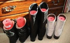 Cut Up a Pool Noodle and Place in Boots to Keep Them Upright | 52 Totally Feasible Ways To Organize Your Entire Home