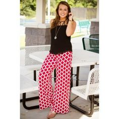 HOUR GLASS LILLY-Hex Red Pants