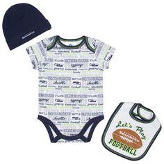 Infant Seattle Seahawks  White Bodysuit, Bib & Cap Set