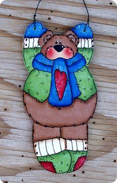 Hanging Bear Ornament 13 by CountryCharmers on Etsy, $7.25