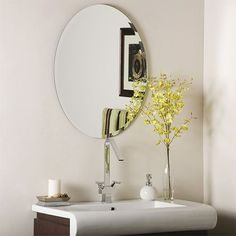Odelia Oval Beveled Frameless Mirror Decor Wonderland Frameless Mirrors Home Decor