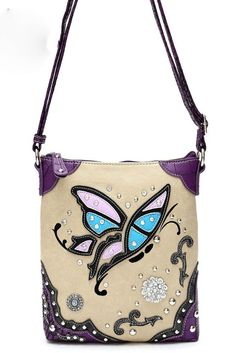 Western Cowgirl Butterfly And Rhinestone Accented Messenger Bag #GetEverythingElse #MessengerCrossBody