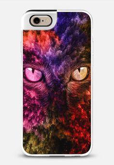 Galactic Cat Phonecase by Maria Moreno-  $10 Off use code: 3UQVTP -  #phonecase #cat #universe #casetify #colorful #nebula #gift #girly #woman #eyes #mariamoreno