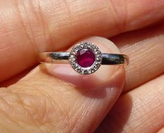 Estate Antique 18KT white gold Ruby and Diamond by gems4borth, $495.00