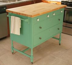 Dresser turned kitchen island, color: benjamin moore Medichi malachite via year of serendipity