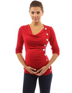 PattyBoutik Mama Cowl Neck Buttons Maternity Tunic Top (Bright Red S) Tunic Blouse, Tunic Tops, Maternity Sweater, Tops For Leggings, Cowl Neck, Black Tops, Girl Outfits, Buttons, Bright
