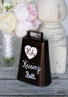 Good idea to have with the center pieces.. Rustic Kissing Bell Custom Wedding Decor item by braggingbags, $24.99