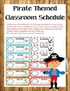 Pirate Themed Classroom Décor Schedule Comes with 4 formats and includes analog and digital time locations. Also includes premade school subjects/locations and blanks. Classroom Table Signs, Classroom Schedule, Classroom Themes, Pirate Bulletin Boards, Bulletin Board Borders, Teach Like A Pirate, Behavior Clip Charts, Math Groups, Math Workshop