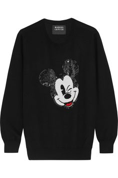 Markus Lupfer|+ Disney® Winking Vintage Mickey sequined merino wool sweater|NET-A-PORTER.COM
