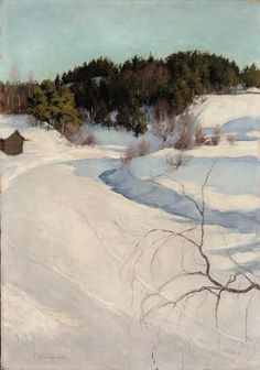 """Pekka Halonen - """"Winter Landscape at Myllykylä"""" Oil on canvas, 69 x 48 cm Abstract Landscape, Landscape Paintings, Watercolor Paintings, Painting Snow, Winter Painting, Winter Szenen, Russian Painting, Snow Scenes, Winter Landscape"""