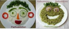 Lunch Ideas for Kids    Can rice be boring for kids if you present it like this!!!Make different fun shapes and sizes or faces with food. Use fresh vegetables to decorate the dish. Kids are sure to get attracted. Here are a few creative ideas to make your kids eat healthier food.    Curd Rice fortified with vegetables    Coriander rice