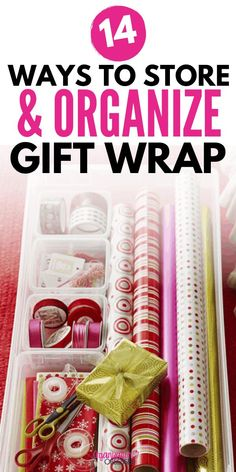 Home Decor Crafts Don't miss these 14 wrapping paper storage ideas to help you get organized this year! Keep your wrapping paper organized with these easy ways to store and organize gift wrap, gift bags, bows and tape! Wrapping Paper Storage Container, Wrapping Paper Organization, Gift Wrap Storage, Fabric Storage Boxes, Home Organization Hacks, Organizing Your Home, Storage Ideas, Organizing Ideas, Closet Organization
