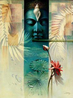 Krishna by Amit Bhar Ganesha Painting, Buddha Painting, Buddha Art, Hanya Tattoo, Yoga Studio Design, Psy Art, India Art, Indian Art Paintings, Arte Horror