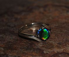 Rolling Broadflash! Australian Triplet Black Opal Ring in Sterling Silver