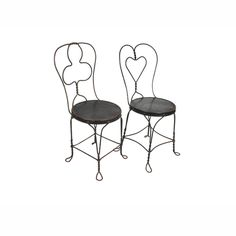 Wrought Iron Chairs Pair