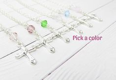 Cross necklace, pick a color crystal. Fall sale, off on all orders. Rose Necklace, Rose Earrings, Beautiful Earrings, Beautiful Necklaces, Country Wedding Jewelry, Purple Jewelry, Cross Jewelry, Sale 50, Purple Roses