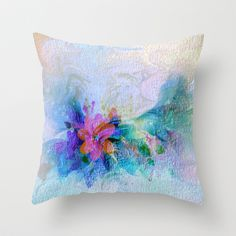 Soft Shaded Floral Abstract Throw Pillow by Judy Palkimas - $20.00