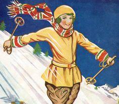 vintage Schoolgirl illustration downhill skiing winter decor  skiing snow sport. $18.95, via Etsy.