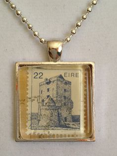 Old Irish Stamp Pendant Necklace by joytoyou41 on Etsy, $25.00  Use my own stamp for this pendant