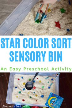 Do you have a kiddo who could use some practice sorting and identifying colors? This toddler star color sort sensory bin will not only help your little sort colors, it will also give them fine motor practice and connect a book to their play! Click through to get the full scoop on the toddler sensory bin. Toddler activity - Preschool - Color activity Eid Activities, Toddler Fine Motor Activities, Planets Activities, Toddler Sensory Bins, Rhyming Activities, Sensory Activities Toddlers, Space Activities, Montessori Activities, Color Activities