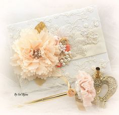 Guest Book Wedding Signature Book Signing Pen Ivory by SolBijou